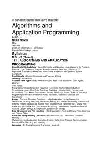 Algorithms and Application Programming, Lecture notes, KUMAR