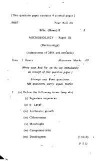 Test Paper - Bacteriology - Delhi University -  Bachelor of Science(Hons.) - MicroBiology - First Year 2004