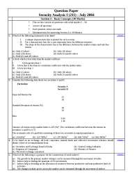 Test Paper - Security Analysis - I - Institute of Chartered Financial Analyst of India - Oct. 2004
