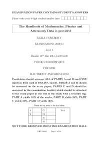 Electricity and Magnetism - Exam 2011 - Pyhsics and AstroPhysics