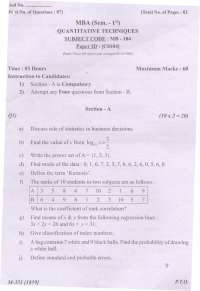 Test Paper - Quantitative Techniques  - Punjab technical university -  Master of business administration