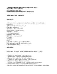 Test Paper - Entrepreneurship Development Program - B.Com, 5th Sem - Bangalore University - 2007