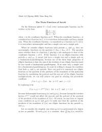 Theta Functions of Jacobi, Lecture Notes - Mathematics