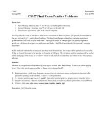 CS107 Final Exam Practice Problems - Programming Paradigms - 38
