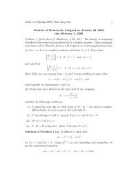 Complex Analysis 1, Exercises Solution - Mathematics