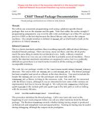 CS107 Thread Package Documentation - Handout - Programming Paradigms - 22