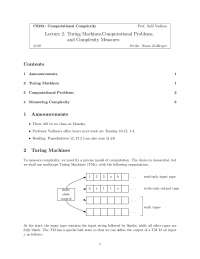 Computational Complexity Turing Machine, Lecture Notes - Computer Science