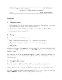 Computational Complexity The Polynomial Hierarchy, Lecture Notes - Computer Science