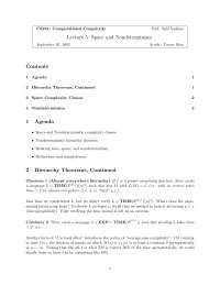 Computational Complexity Space and Nondeterminism, Lecture Notes - Computer Science