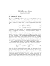 Particle Physics Standard Model, Lecture Notes - Physics