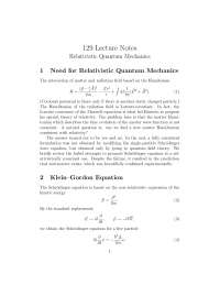 Particle Physics Dirac Equation, Lecture Notes - Physics