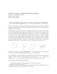 Threading Approach to Tertiary Strcture Protein, Lecture Notes - Medical Science - Prof. LArry Brown
