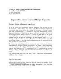 Space Comparison Global Local and Multiple Alignments, Lecture Notes - Medical Science