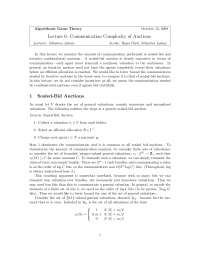 Communication Complexity of Auctions, Lecture Notes - Computer Science