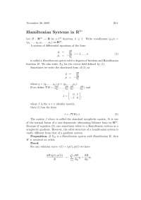 Hamiltonian Systems In $R^{2N}$, Lecture Notes - Advanced Calculus
