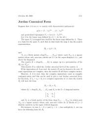 Jordan Canonical Form, Lecture Notes - Advanced Calculus