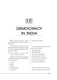 Democracy in India - Lecture Notes - Indian History - J. W. Garner