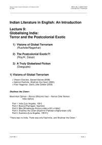 Indian Literature in English-Lecture 09 Notes-Literature