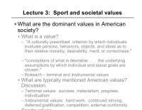 Sociology of Sport-Lecture Slides [Sport and Societal Values]-Sociology-Piliavin