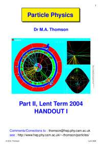 Part II Particle Physics-Hanout 1 2004-Physics