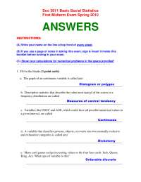 Basic Social Statistics-Exam Paper 1 Answers 2010-Sociology