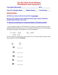 Basic Social Statistics-Exam Papers 3 Spring 2010-Sociology