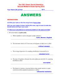 Basic Social Statistics-Exam Paper 2 Answers Spring 2010-Sociology