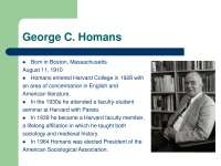 George C. Homans-Sociological Theory-Lecture soci250m13s07-Sociology
