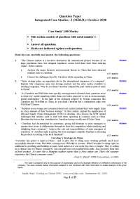 Integrated Case Studies - Exam Paper January 2008- MBA, ICFAI