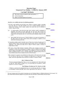 Integrated Case Studies - Exam Paper January 2009- MBA, ICFAI