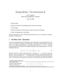 The Wind-The Physics of Energy Devices-Lecture 4 Notes-Physics