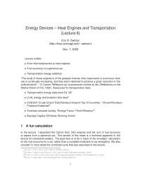 Heat Engines and Transportation-The Physics of Energy Devices-Lecture 6 Notes-Physics