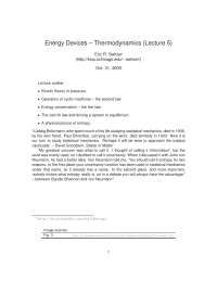 Thermodynamics-The Physics of Energy Devices-Lecture 5 Notes-Physics