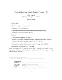 Solar Energy-The Physics of Energy Devices-Lecture 8 Notes-Physics