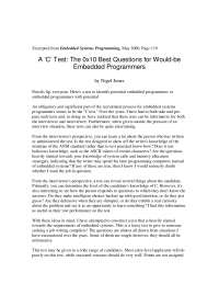 C programmers test - A 'C' Test: The 0x10 Best Questions for Would-beEmbedded Programmers