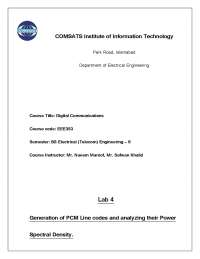 Generation of PCM Line codes and Analyzing Their Power Spectral Density-Digital Communication Systems-Lab Manual