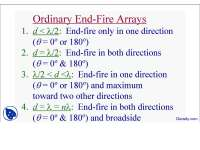 Ordinary End Fire Arrays-Arrays in Antenna Theory-Lecture Slides
