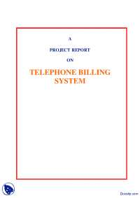 Telephone Billing System-Computer Sciences and Communication-Project Report