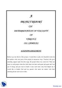 Determination of Viscosity of Various Oil Samples-Thermodynamics-Project Report