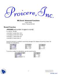 Advanced Functions--MS Excel-Lecture Handout
