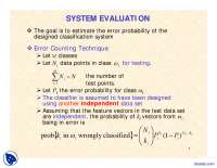 System Evaluation-Pattern Classification and Recognition-Lecture Slides