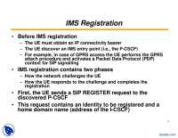 IMS Registration-Networks And IP MultiMedia Subsystem-Lecture Slides, Slides for IP Multimedia Subsystems