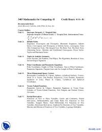 Course Outline-Mathematics For Computing-Handout