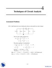Techniques of Circuit Analysis-Electrical Circuit Analysis-Solution Manual