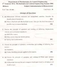 Instrumentation and Measurement-Transducers and Instrumentation-Mid Term Exam Paper