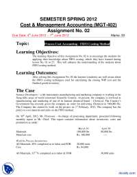 Cost and Management Accounting-Accountancy, Banking and Business Administration-Assignment