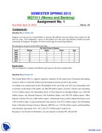 Money and Banking-Accountancy, Banking and Business Administration-Assignment