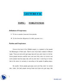 Forgiveness-Fundamentals of Islam-Lecture Notes
