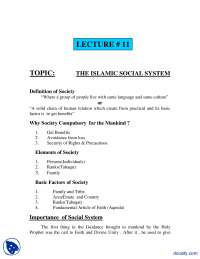 Islamic Social System-Fundamentals of Islam-Lecture Notes