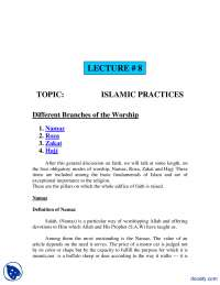 Islamic Practices-Fundamentals of Islam-Lecture Notes